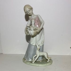 Lladro Like Porcelain figurine Girl With Puppies